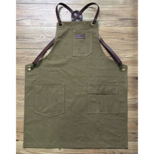 Factory Handmade Durable Brown Canvas Barber Aprons with Cross Back Leather Strap