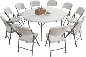 Hot Selling 180cm Plastic Round Folding Table, Dining Table, Banquet Table, All-Purpose Table pictures & photos