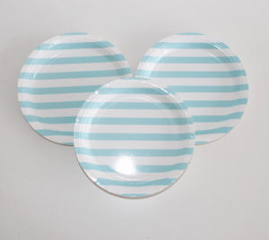 China Striped Paper Plates Wedding Decoration More Colors Party