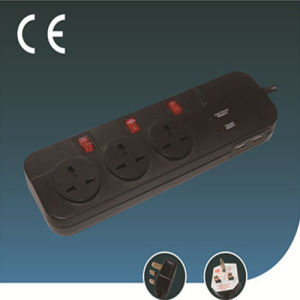 Universal Lightning Protection Socket with Individual Switch and USB