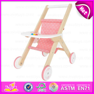 Top Sale Lovely Pink Wooden Baby Doll Pram Stroller for Girl W06b037 pictures & photos