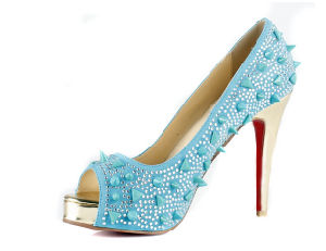 Fashion High Heel Dress Shoes with Diamond (HS17-056)