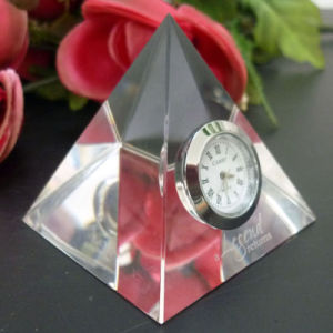 Pyramid Blank Crystal Clock Paperweight Collection pictures & photos