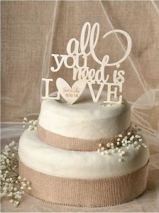 Romantic Wood Wedding Cake Topper pictures & photos