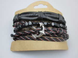 Man Leather Bracelet Elastic Cord with Wood Beads Fashion Accessory Jewelry