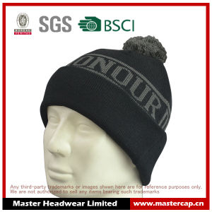 Black Acrylic Dobby Pattern Cuff Knitted Hat Beanie with Ball Top