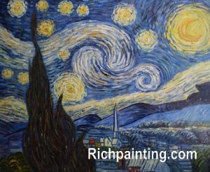 Oil Painting Cafe Terrace at Night Reproduction Van Gogh (4)