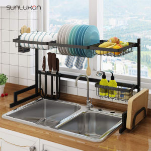 China 85cm 2 Tier Shelf Kitchen Storage Dish Drying Drainer