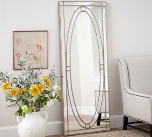 Elegant Stylish Home Decor Ssilver Beaded Floor Mirror - China Floor ...