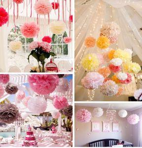 1pc Tissue Paper Flowers Paper Pom Poms Balls Lantern Party Wedding Decoration Baby Shower Party Decoration Supplies