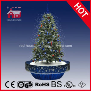 snowing christmas tree decorations with frame supported base