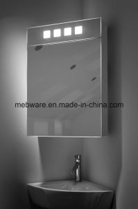 LED Corner Cabinet Mirror with Shaver Socket / Bathroom Mirror with Cabinet
