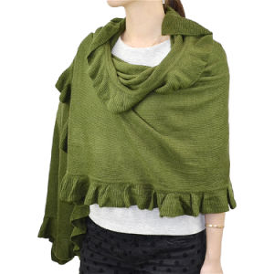 Lady Fashion Acrylic Knit Winter Ruffle Shawl Wrap Scarf (YKY4158A-4) pictures & photos