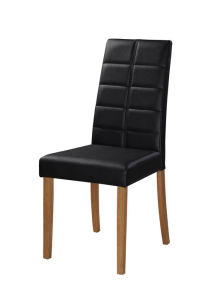Modren Black PVC Leather Dining Chair with Wooden Leg