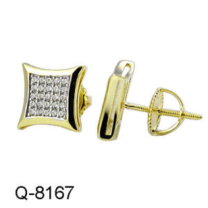Fashion Jewelry 925 Silver 14k Gold Color Micro Pave Setting Men′s Earrings. pictures & photos