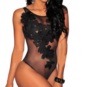 Sexy Women Black Floral Embroidered Sheer Mesh Bodysuit
