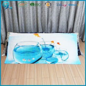 Colorful Printed Custom Design Rectangle Warm Soft Velour Towel