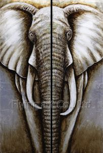 Canvas Animal Oil Painting for Elephant pictures & photos
