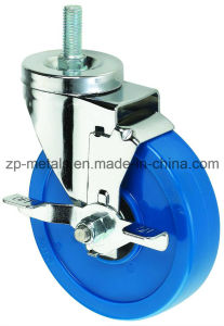 3inch Medium Sized Biaxial Blue Thread PVC Caster Wheels with Side Brake
