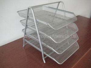 Mesh 4-Tire File Tray, Silver (YH3220822)