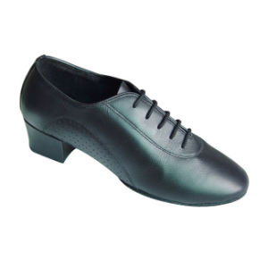 Men′s Black True Leather Salsa/Latin/Cha-Cha Dance Shoes pictures & photos