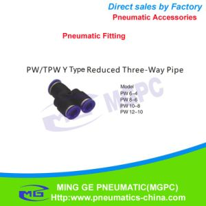 Y Type 3 Way Reduced Pneumatic Pipe Fitting (PW6-4 PW8-6 PW10-8 PW12-10)