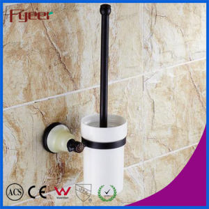 Fyeer Ceramic Base Black Bathroom Accessory Brass Toilet Brush Holder pictures & photos