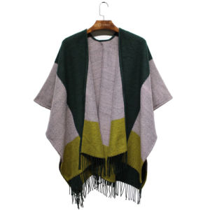 Lady Fashion Color Block Acrylic Woven Winter Fringe Shawl (YKY4502) pictures & photos