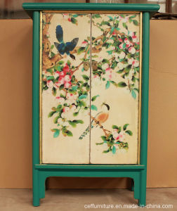 China Antique Hand Painted Furniture Flower And Bird Beauty Wardrobe