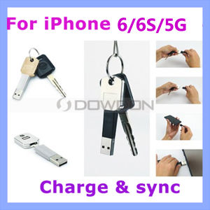 Lightning USB Key Chain Charger Sync Data Cable for iPhone 6 /5 iPad Air Samsung Galaxy S6 Keychain Cable pictures & photos