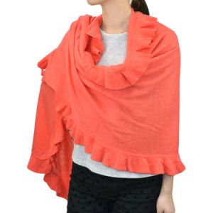 Lady Fashion Acrylic Knit Winter Ruffle Scarf Shawl Wrap (YKY4158A-3) pictures & photos