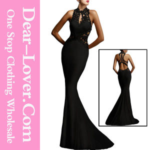 Black Open Back Fine Flowers Wedding Evening Gown pictures & photos