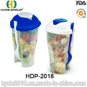 Reusable Plastic Salad Shaker Cup with Fork (HDP-2018) pictures & photos