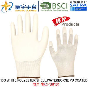 13G White Polyester Shell Waterborne PU Coated Gloves (PU8101) with CE, En388, En420 Work Gloves pictures & photos