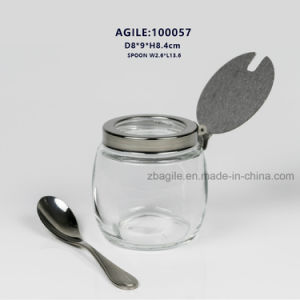 100057 Glass Spice Jar with Stainless Steel Lid and Spoon