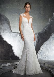 Top Quality Sheer Cap Sleeve Mermaid Backless Lace Wedding Gown