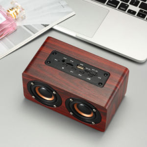 New W5 Wood Portable Wireless Bass Music Bluetooth Speakers Dual Horn Power  Subwoofer