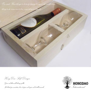 Hongdao Personalized Wooden Wine Box For Bottles And Wineglasses Gift E
