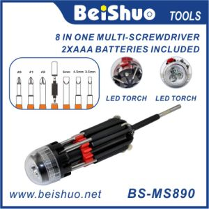 8 in 1 Multi Function Screwdriver with LED Torch Light