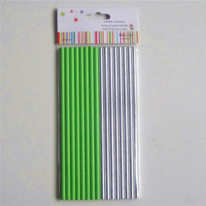 Solid Green Color 6*195mm Paper Drinking Straw pictures & photos