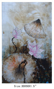Grey Color Water Lily Modern Decoration Abstract Oil Painting by Handmade (LH-700587) pictures & photos