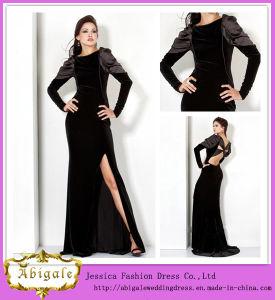 4bd0b42e7af6 China Latest Fashion Floor Length A-Line Long Sleeve Side Slit Black Velvet  Evening Dress Long Sleeve (WD71) - China Black Velvet Evening Dress Long  Sleeve