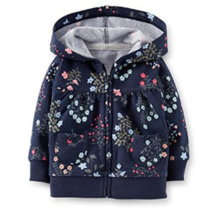 Baby Girl′s Navy Floral French Terry Hooded Cardigan pictures & photos