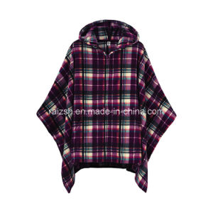 Warm Soft Fleece Poncho with Check Printed TV Blanket Clothing
