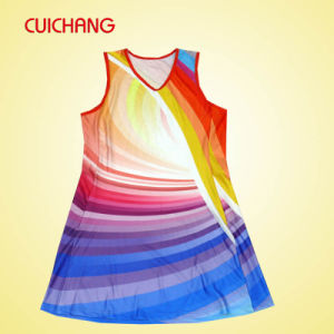 Wholesale Polyester/Spandex Heat Transfer Printing Custom Design Fashion Design & Cheap Women Netball Dress