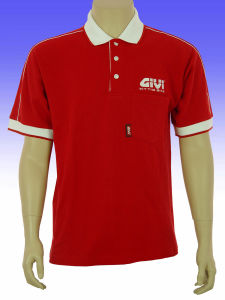 Men′s Red Color White Neck Polo Shirts pictures & photos