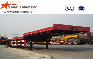 3 Axles Goose-Neck Flatbed Semi-Trailer pictures & photos