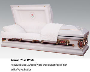 Mirror Rose White Casket