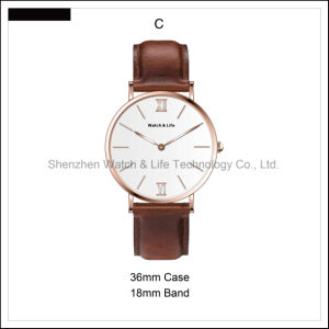 Promotion Simple Lady Men′s Watch Couple Leather Strap D Style Wrist Watch pictures & photos