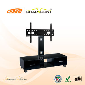 High Quality Tempered Glass MDF LCD Plasma TV Stand Has Drawers (CT-FTVS-N103WB) pictures & photos